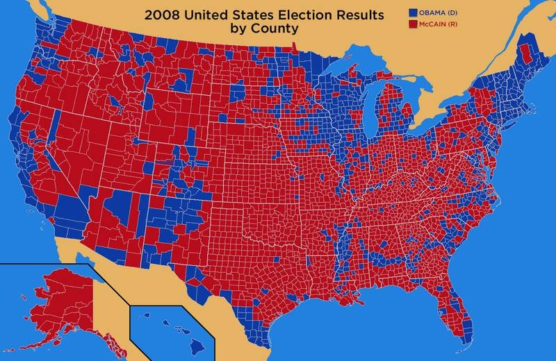 How Some Of The US Political Map Was Determined By Events - Us political map by county