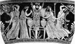 Ecstatic maenads in Greece mix visionary plants into wine in a wine-mixing bowl in front of a column and mask.JPG